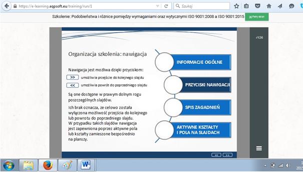 Nawigacja w szkoleniu elearningowym ISO 9001:2015