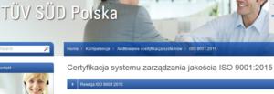 Materiały ISO 9001:2015 - TUV SUD